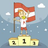 Чемпион иллюстрации шаржа Латвии с наградой золота иллюстрация вектора