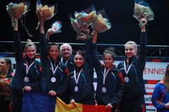 Чемпион 2017 команды ` s девушки Румынии европейский стоковое фото rf