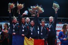 Чемпион 2017 команды ` s девушки Румынии европейский стоковая фотография rf