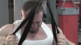 Чемпион мира культуризма делая тренировки для задней части в спортзале сток-видео