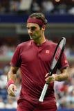 чемпион Роджер Federer грэнд слэм 20-time Швейцарии в действии во время круга 2018 США открытого спички 16 стоковое фото rf