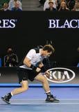 Чемпион Andy Мюррей грэнд слэм Великобритании в действии во время его полуфинала 2016 открытого чемпионата Австралии по теннису Стоковая Фотография RF