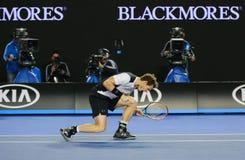 Чемпион Andy Мюррей грэнд слэм Великобритании в действии во время его полуфинала 2016 открытого чемпионата Австралии по теннису Стоковое Изображение RF
