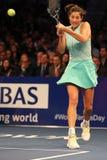 Чемпион Garbine Muguruza грэнд слэм Испании в действии во время события тенниса годовщины решающего сражения BNP Paribas 10th Стоковые Фотографии RF