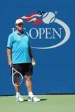 Чемпион Ivan Lendl грэнд слэм тренера по теннису наблюдает чемпиона Andy Мюррея грэнд слэм во время практики для США для того что Стоковое Изображение
