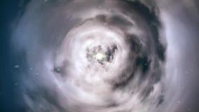 Червоточина прямо через время и пространство, облака, и миллионы звезд Красочная анимация космического полета Искривление прямо акции видеоматериалы