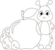 Червь гусеницы с яблоком Смешная иллюстрация младенца бесплатная иллюстрация