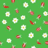 Червь Ladybug и картина цветков безшовная бесплатная иллюстрация