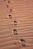 через ботинки дезертируйте гулять Стоковая Фотография