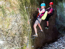 Через взбираться Ferrata/Klettersteig Стоковое Фото