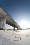 Через реку зимы Стоковые Изображения RF