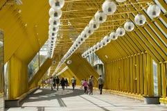 через реку пешехода moscow города делового центра моста Стоковые Фото