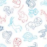 Черепаха африканского шаржа животная, жираф, лев, зебра, газель, зебра, обезьяна, слон, змейка изолированная на белизне Стоковое Изображение