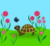 черепаха бабочки иллюстрация вектора
