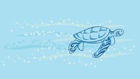 черепаха заплывания моря вниз Стоковое Изображение