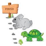 Черепаха, заяц, гонка, вектор, иллюстрация Стоковая Фотография RF