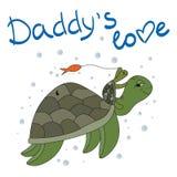 Черепаха и малая черепаха играют под водой Влюбленность ` s папы Стоковое Фото