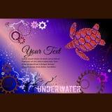 Черепаха, подводная, Gearwheels вектор текста иллюстрации рамки Стоковое Фото