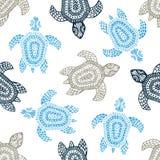 Черепахи - безшовная картина Голубые, серые и белые цвета grunge Стоковые Фотографии RF