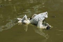 Черепахи на статуе белых рыб в пруде стоковое изображение