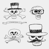 Черепа в шляпе с усиком и стеклами Иллюстрация штока