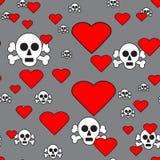 Черепа и сердца на серой безшовной картине Стоковое Изображение
