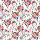 Черепа оленей, цветки, мечт улавливателя - dreamcatcher картина безшовная акварель Стоковые Фотографии RF
