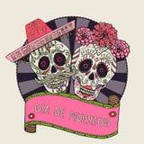 2 черепа сахара vector иллюстрация на день умерших иллюстрация штока
