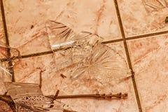 Черепки сломленной кристаллической вазы Стоковая Фотография