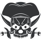 Череп Веселого Роджера символа пирата Стоковое Изображение RF
