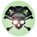 Череп Веселого Роджера символа пирата Стоковые Фото