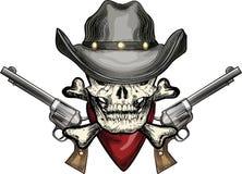 Череп в ковбойской шляпе иллюстрация штока