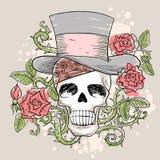 Череп в шляпе с розами Иллюстрация вектора