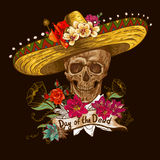 Череп в sombrero с днем цветков умерших Стоковые Изображения RF