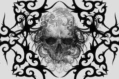 Череп Дизайн татуировки над серой предпосылкой текстурированный фон Ar бесплатная иллюстрация