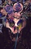 Череп демона картины акварели Украшенный с цветками Стоковая Фотография