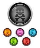 череп иконы кнопки Стоковое Изображение RF