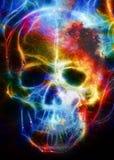 Череп и влияние фрактали Предпосылка цветового пространства, коллаж компьютера Элементы этого изображения поставленные NASA Стоковое Изображение