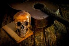Череп и гитара на древесине, Стоковые Изображения RF