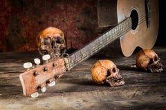 Череп и гитара на древесине, Стоковая Фотография