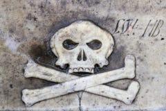 Череп и кости на плите стоковое фото rf