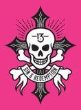 Череп и кости с крестом и знаменем Стоковое Изображение RF
