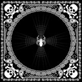 Череп и паук картины Bandana Стоковое Изображение