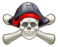 Череп и перекрестный пират косточек иллюстрация штока