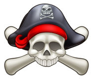 Череп и перекрещенные кости пирата иллюстрация штока