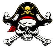 Череп и пересеченный пират косточек иллюстрация штока