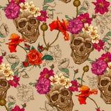 Череп и предпосылка цветков безшовная Стоковые Изображения