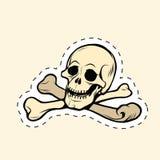 Череп и стикер ярлыка Веселого Роджера косточек иллюстрация вектора