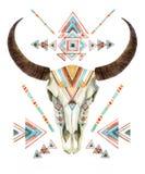 Череп коровы в племенном стиле Животный череп с этническим орнаментом Стоковые Изображения