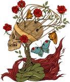 Череп, куст роз, змейка и пламя иллюстрация вектора